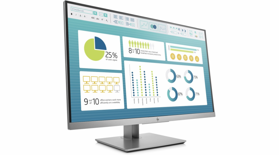 HP EliteDisplay E273 / 27'' IPS 1920x1080 / 250cd / 1000:1 / 5ms / VGA, DP, HDMI, USB / 3/3/0