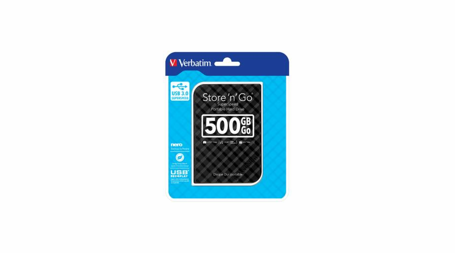 "VERBATIM HDD 2.5"" 500GB Store 'n' Go Portable Hard Drive USB 3.0, Black GEN II"
