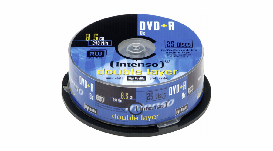1x25 Intenso DVD+R 8,5GB 8x Speed, Double Layer Cakebox