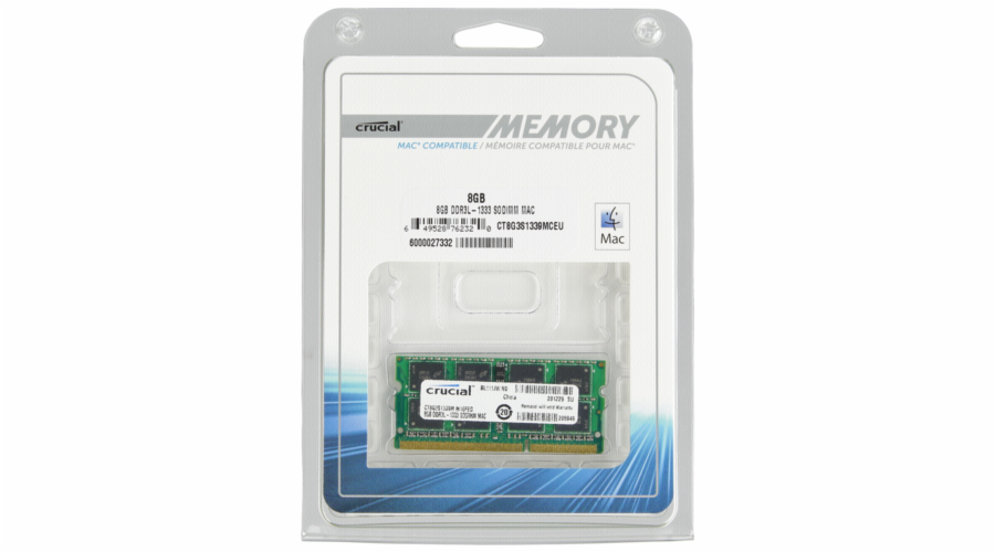 Crucial 8GB DDR3 1333 MT/s CL9 PC3-10600 SODIMM 204pin for Mac