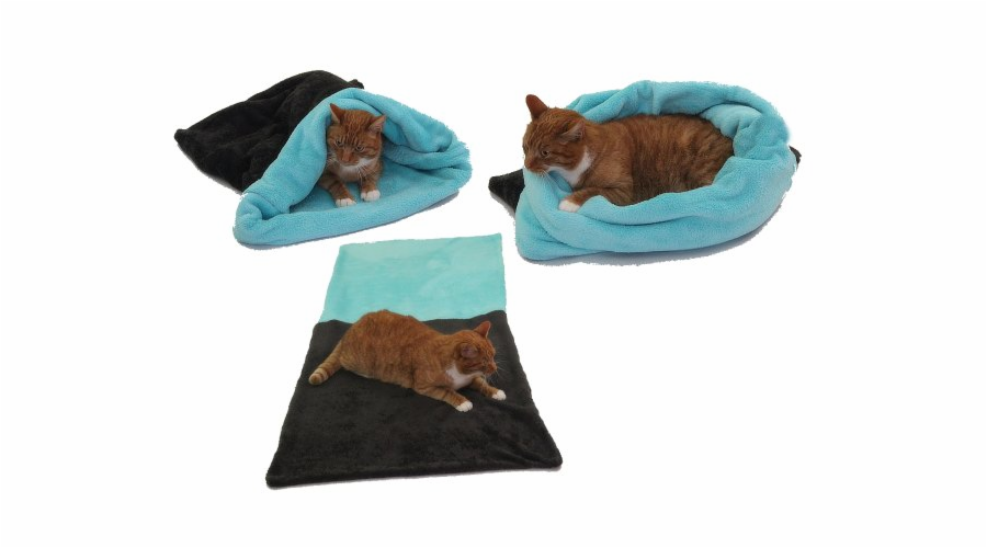 Marysa pelíšek 3v1 pro kočky, tmavě šedý/tyrkysový, velikost XL