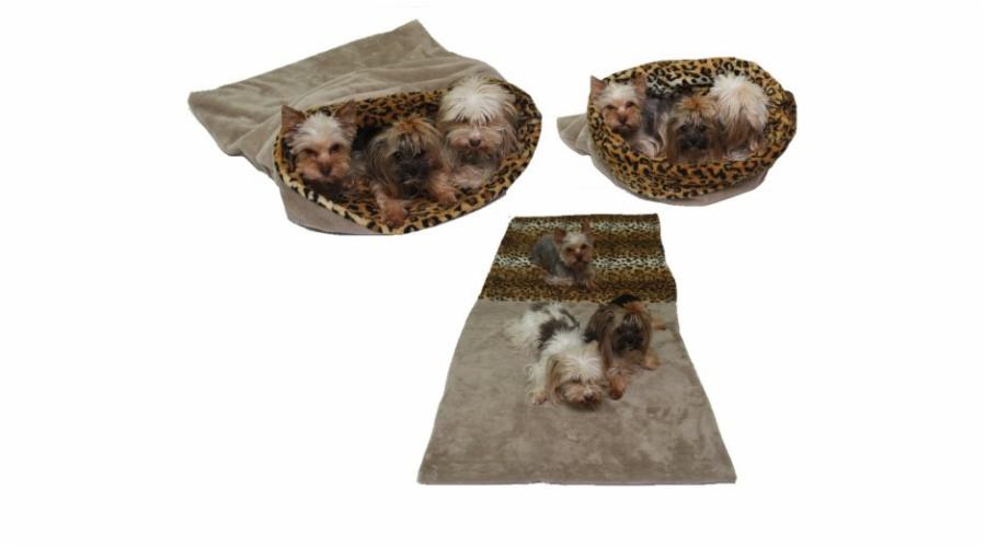 Marysa pelíšek 3v1 pro psy, béžový/oranžový, velikost XXL