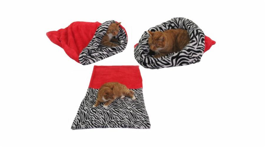 Marysa pelíšek 3v1 pro kočky, červený/zebra, velikost XL