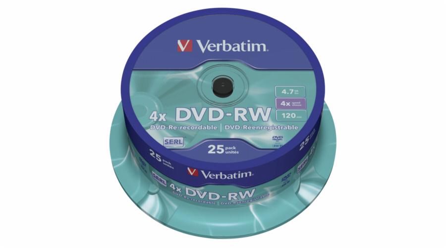 1x25 Verbatim DVD-RW 4,7GB 4x Speed, matne stribrna