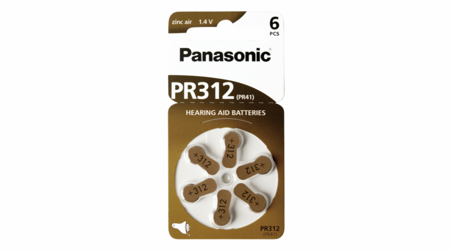 Panasonic PR 312 Zinc Air 6 pcs. Hearing Aid Cells