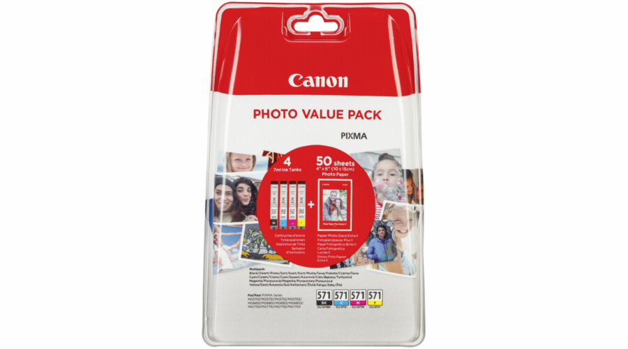Canon CLI-571 Photo Value Pack C/M/Y/BK PP-201 10x15 cm 50 Sh.