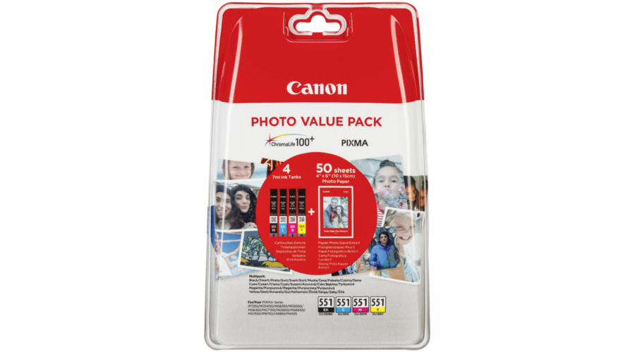 Canon CLI-551 Photo Value Pack C/M/Y/BK PP-201 10x15 cm 50 Sh.