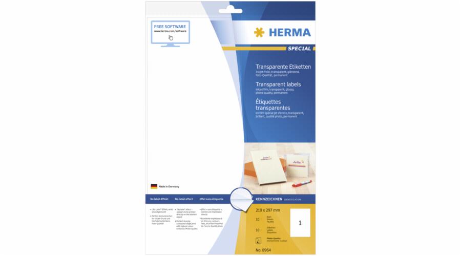 Herma transparent Labels 210x297 10 Sheets DIN A4 10 pcs. 8964