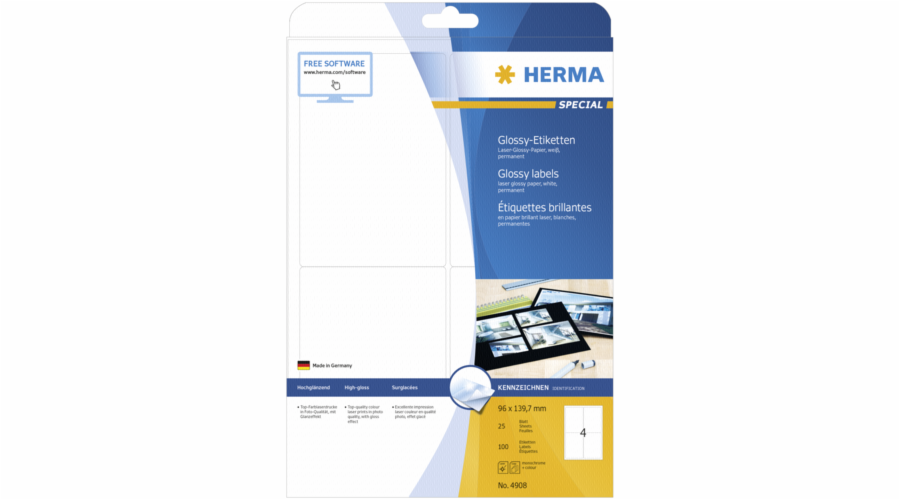 Herma Glossy Labels 96X139,7 25 Sheets DIN A4 100 pcs. 4908