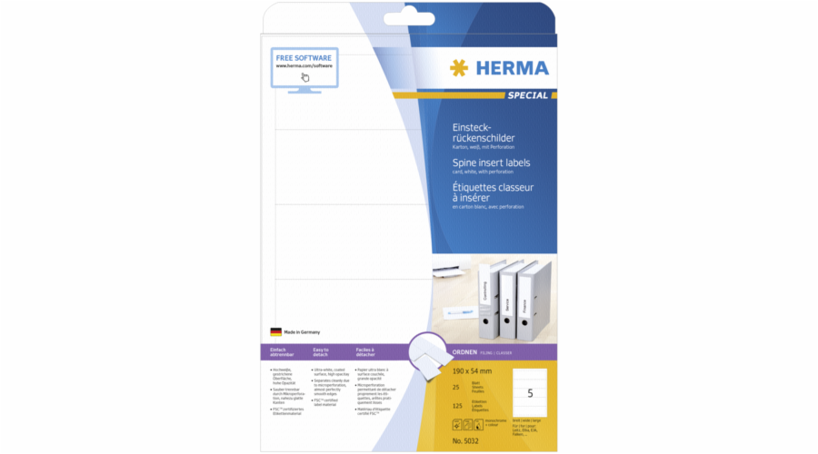 Herma Spine Insert Labels 190x54 25 Sheets DIN A4 125 pcs. 5032