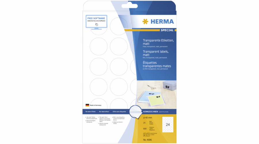 Herma Transparent Labels Matt 40 25 Sheets DIN A4 600 pcs. 4686