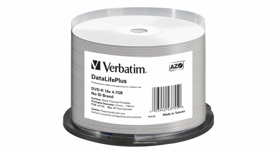 1x50 Verbatim DVD-R 4,7GB 16x bila wide printable NON-ID