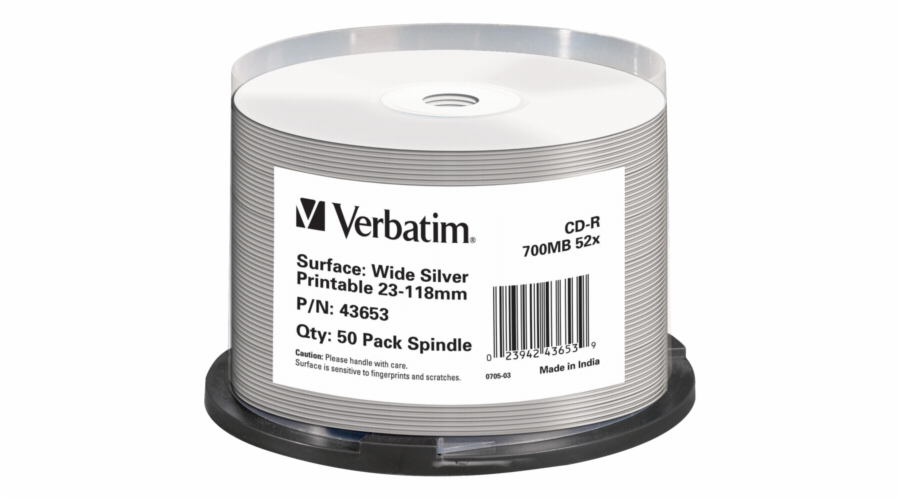 1x50 Verbatim CD-R 80 / 700MB 52x Speed wide silver inkjet