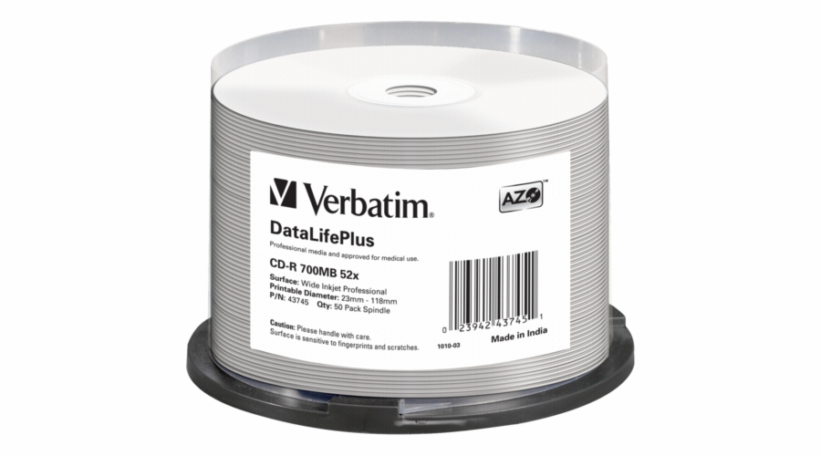 1x50 Verbatim CD-R 80 / 700MB 52x white wide printable NON-ID