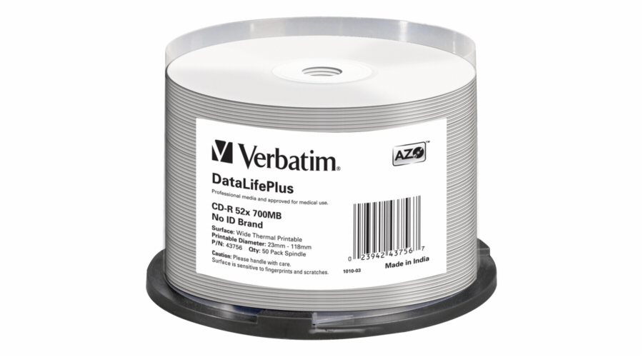 1x50 Verbatim CD-R 80 / 700MB 52x white wide thermal printable