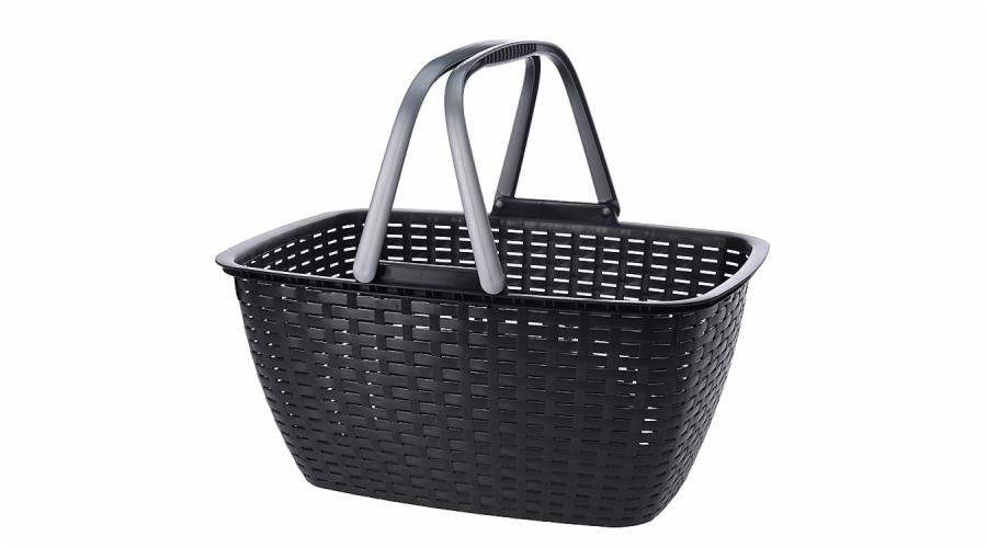 košík nákupní RATAN antracit 40x30x22