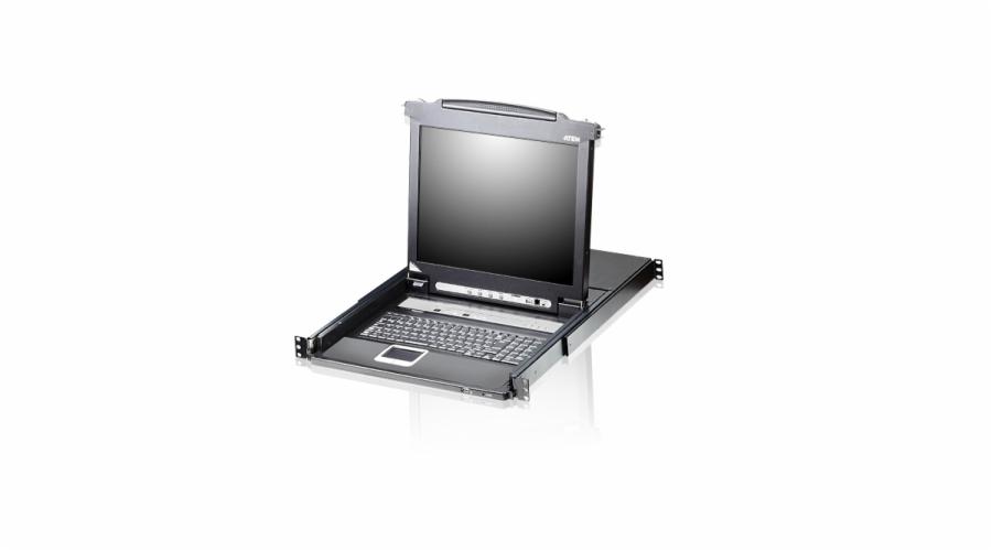 ATEN CL5708M-ATA-AG SINGLE RAIL 8P PS/2-USB LCDKVMP 17INCH W/LED LIGHT/USA KB/EU