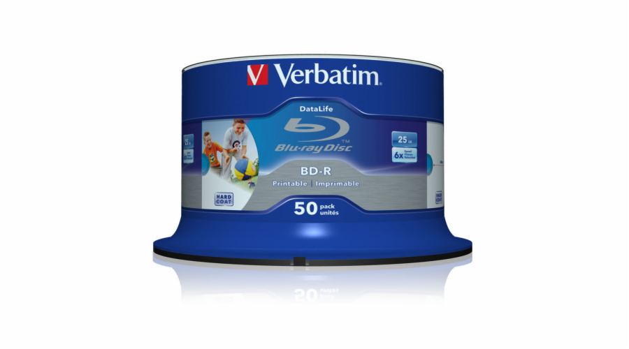 Verbatim Blu-ray BD-R DataLife [ Spindle 50 | 25GB | 6x | WIDE PRINTABLE NO ID ]