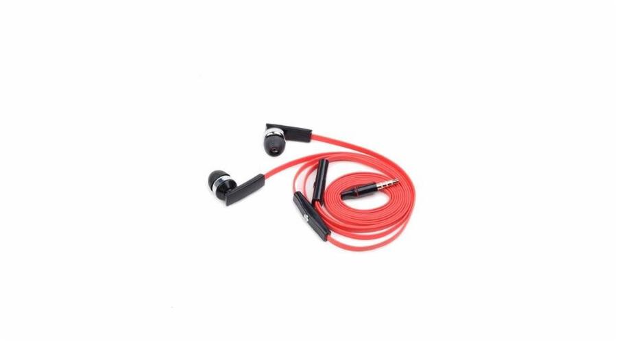 Sluchátka GEMBIRD MHS-EP-OPO pro MP3, plochý kabel, s mikrofonem