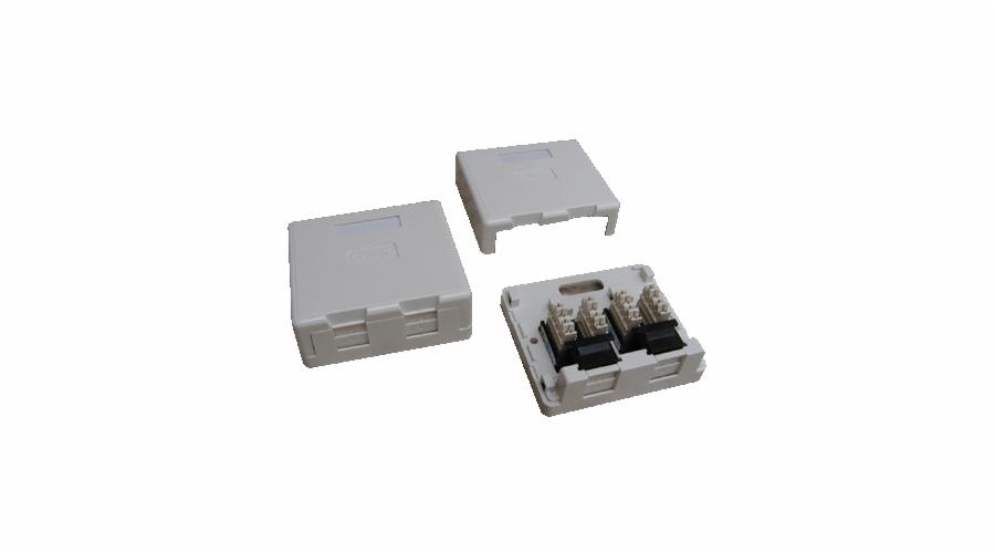 DATACOM UTP 2xRJ45 zásuvka CAT6 na omítku (protiprachová)