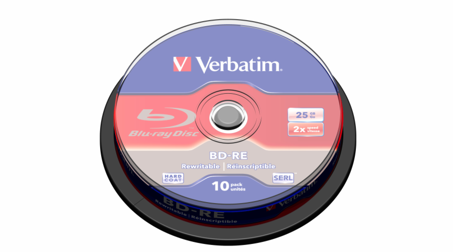 Verbatim Blu-ray BD-RE [ Spindle 10 | 25GB | 2x | WHITE BLUE SURFACE HARD COAT ]