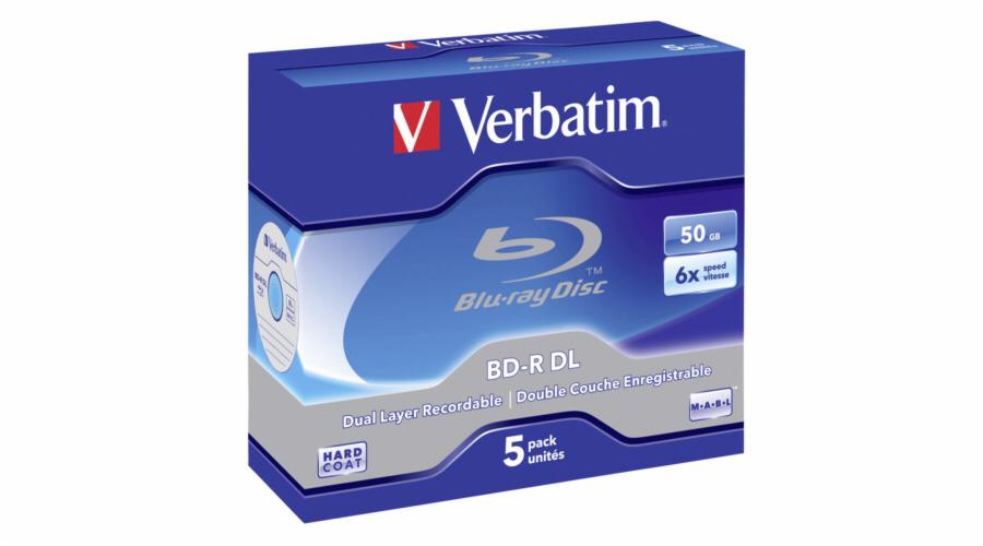 1x5 Verbatim BD-R Blu-Ray 50GB 6x Speed, white blue Jewel Case
