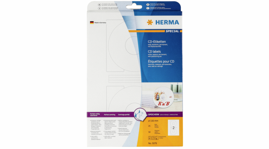 Herma CD-labels white opaque 116 25 Sheets DIN A4 50 pcs. 5079