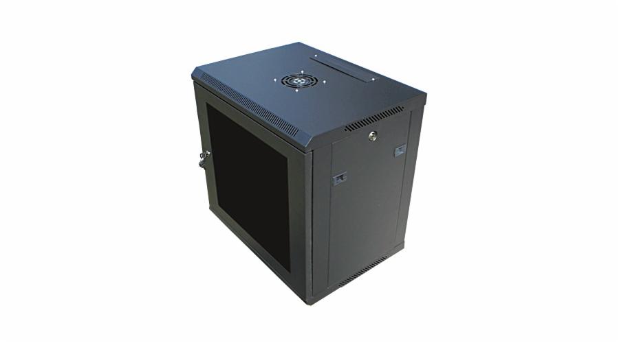 """Datacom 19"""" rozvaděč 12U/450 mm (sklo) černý"""