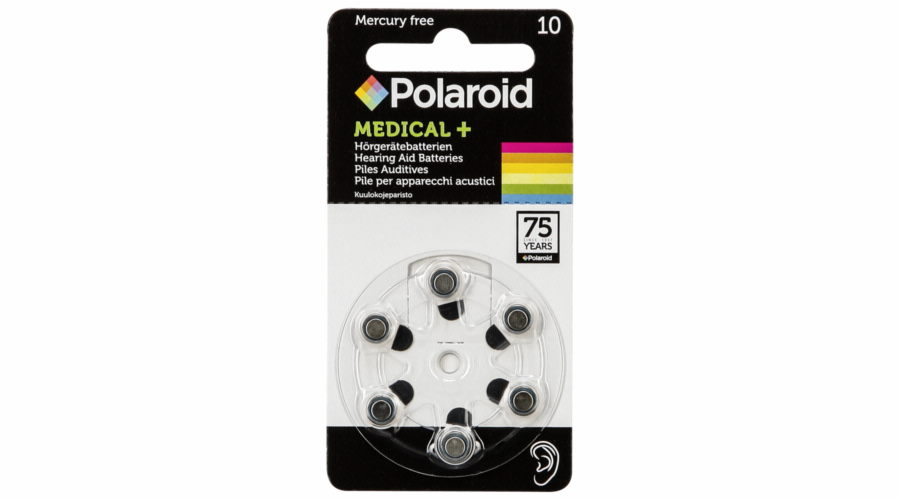 1x6 Polaroid Zinc Air 10 Hearing Aid Batteries