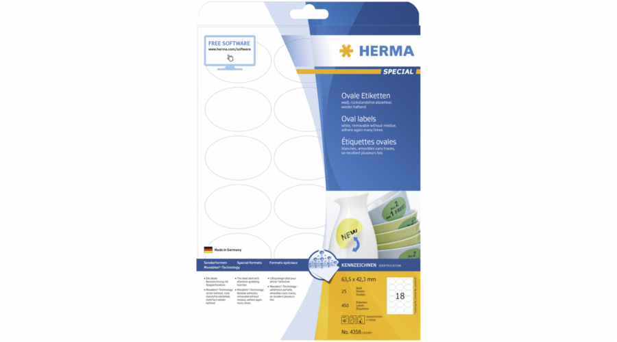 Herma Oval Labels 63,5x42,3 25 Sheets DIN A4 450 pcs. 4358