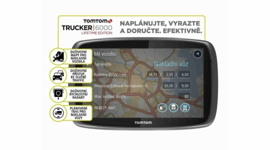 "TOMTOM TRUCKER 6000 LIFETIME SERVICES, LIFETIME mapy, 6"" displej !"