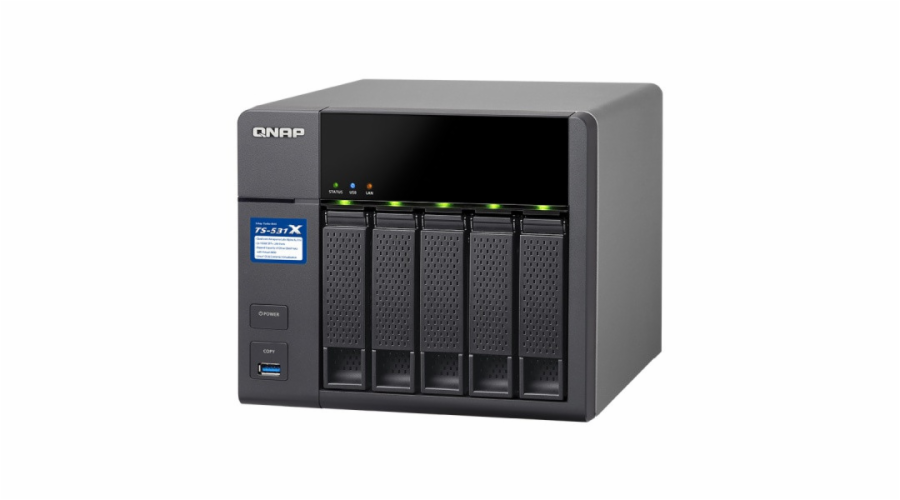 QNAP TS-531X-2G Turbo NAS server, 1,4 GHz QC/2GB/5x HDD/2xGL/2x10GL/USB 3.0/R 0,1,5,6/iSCSI