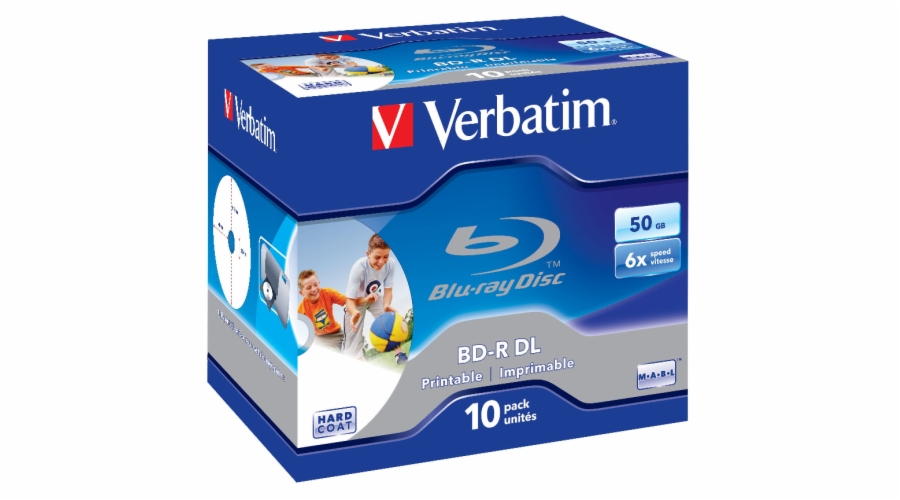 1x10 Verbatim BD-R Blu-Ray 50GB 6x Speed printable Jewel Case